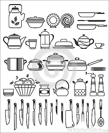 Kitchen tools and utensils vector illustration stock - Ustensiles de cuisine liste ...