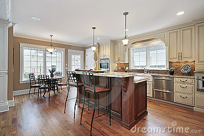 Kitchen With Two Tiered Island Royalty Free Stock Photos