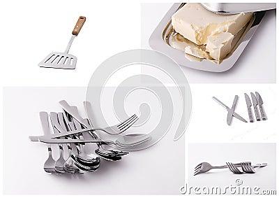 Kitchen utensils collage