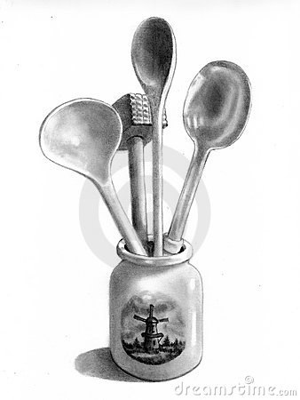 Kitchen Utensils In Dutch Crock, Pencil Drawing Stock Photos - Image ...