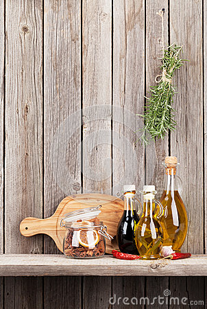 Free Kitchen Utensils, Herbs And Spices On Shelf Stock Image - 65178101