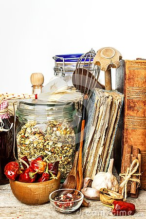 Free Kitchen Utensils On A Wooden Table. White Background. Food Preparation. Cookbook And Cooking Ingredients. Old Book Stock Image - 132548861