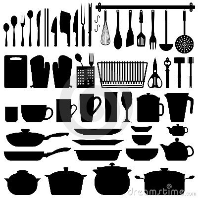 Free Kitchen Utensils Silhouette Vector Royalty Free Stock Photo - 15003385