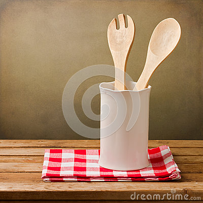 Kitchen utensils with tablecloth