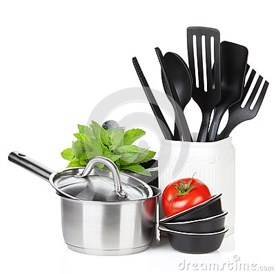 Kitchen Utensils Tomato And Mint Leaves Isolated On White Background