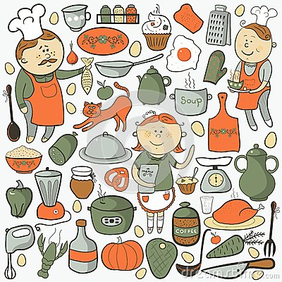Free Kitchen Vector Set, Cartoon Colorful Elements Stock Images - 36109434
