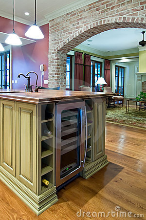Kitchen with wine refrigerator