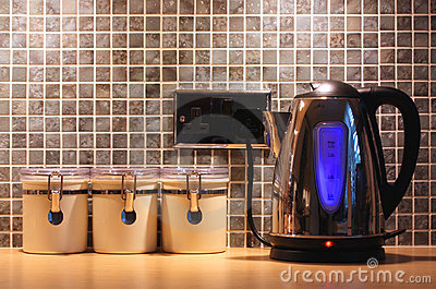 Kitchen worktop and kettle