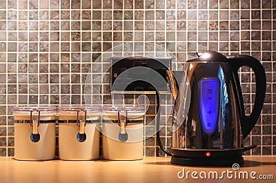 Kitchen worktop and kettle