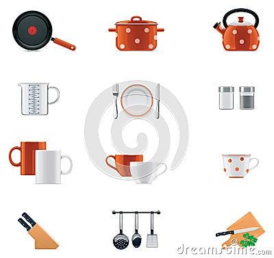 Free Kitchenware Icon Set Royalty Free Stock Image - 23092266