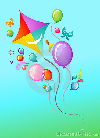 Free Kite And Balloons Template Royalty Free Stock Photos - 13802218