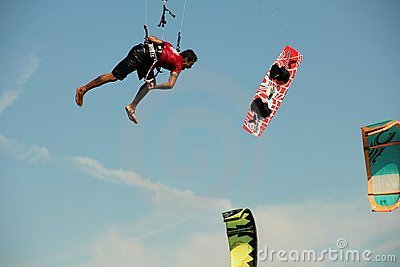 Kite boarder loses his board in mid air Editorial Stock Image