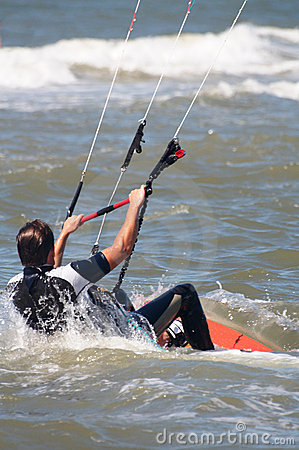 Kite boarder at sea