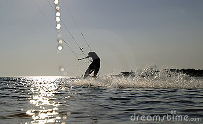 Kite boarder surfing at speed