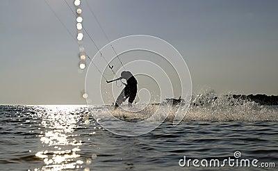 Kite boarder surfing at speed
