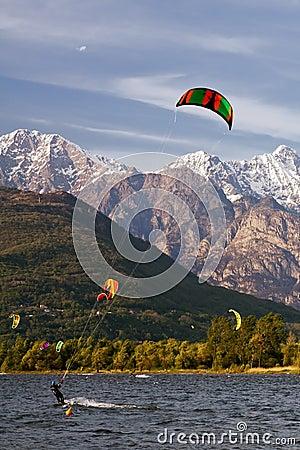 Kite boarding on the lake