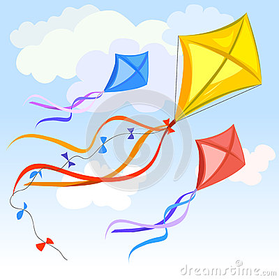 Kite and clouds background