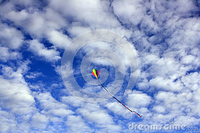 Kite in a cloudy blue sky