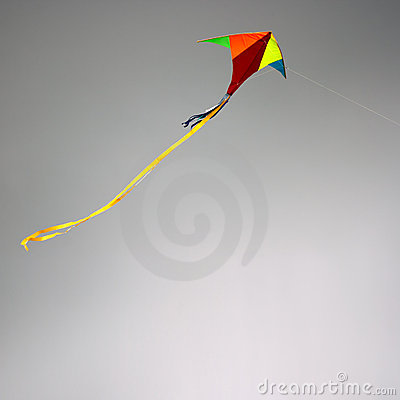 Kite in cloudy sky