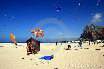 Kite competition in San Vito summer beach, sicily Editorial Photography