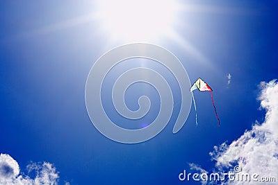 Kite flying in sunlit sky