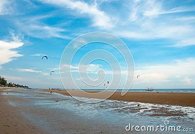 Kite surf on the sea side