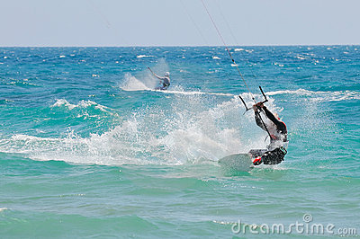 Kite-surfer in action