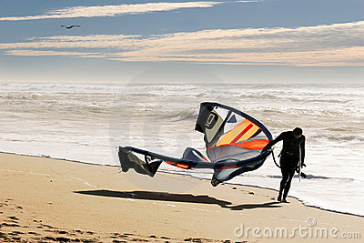 Kite surfer on the beach