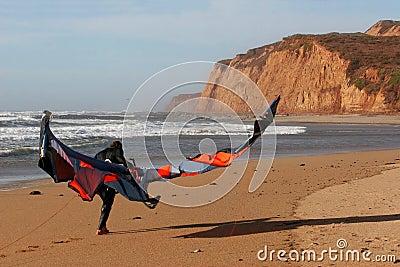 Kite surfer on the beach