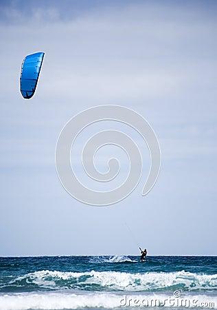 Kite surfer at Famara, Lanzarote