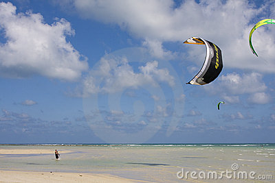 Kite-surfers prepare to compete Editorial Stock Photo