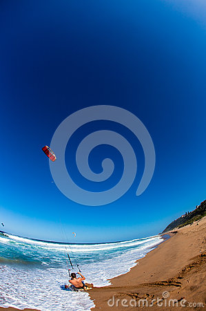 Kite Surfing Beach Launch Action  Editorial Stock Image