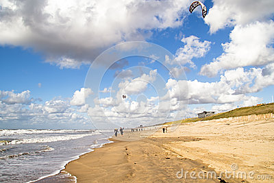 Kite surfing at Zandvoort aan Zee Netherlands