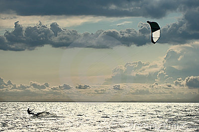 Kiter in sea