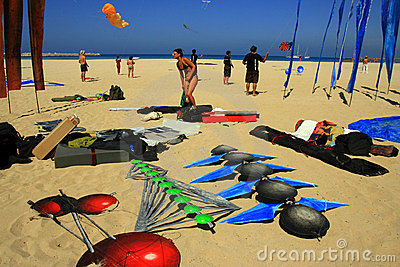 Kites competition on mediterranean beach, Italy Editorial Image