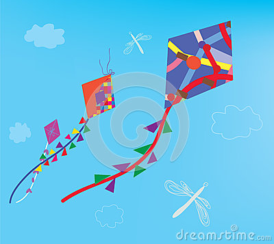 Kites and dragonfly in the sky
