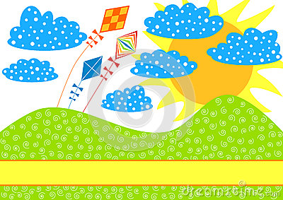 Kites on a Hill Invitation Card