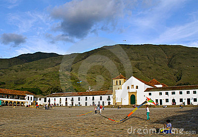 Main square Villa de Leyva, Colombia Editorial Photography