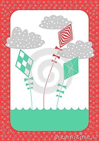 Kites Retro Invitation Card