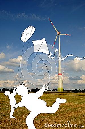 Kites and wind turbine