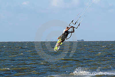 Kitesurfer flying