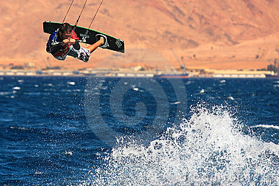 Kitesurfer on the Red Sea. Editorial Stock Image