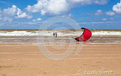 Kitesurfing (kiteboarding) in North sea