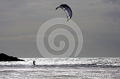 Kitesurfing at Rhosneiger