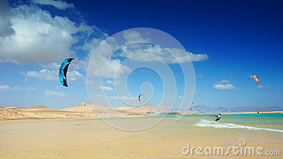 Kitesurfing in Sotavento Editorial Photo