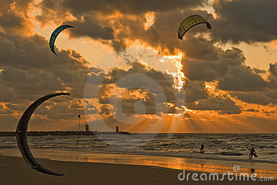 Kitesurfing in the sunset