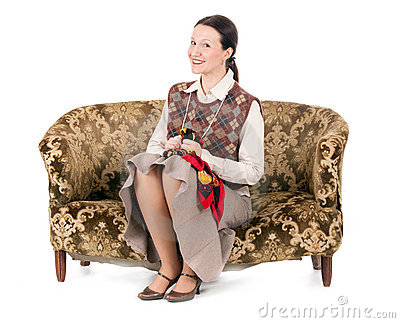 Kitsch woman on retro couch
