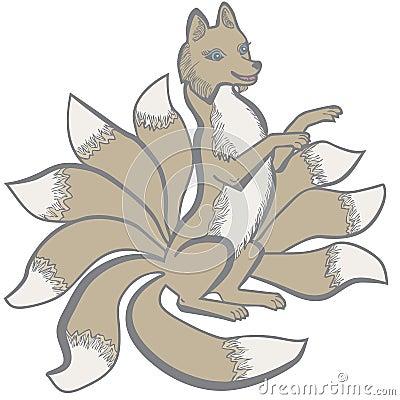 Kitsune nine tailed fox Vector Illustration
