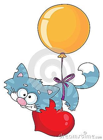 Kitten and a balloon
