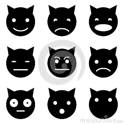 Simple Cute Cat Emoticons Stock Vector - Image: 64285421